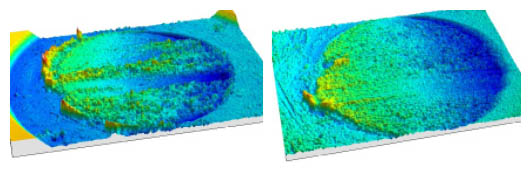 3D topographies of the same tribological test